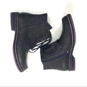 EUC Fluevog Purple Leather Lace Up Ankle Boots 9.5
